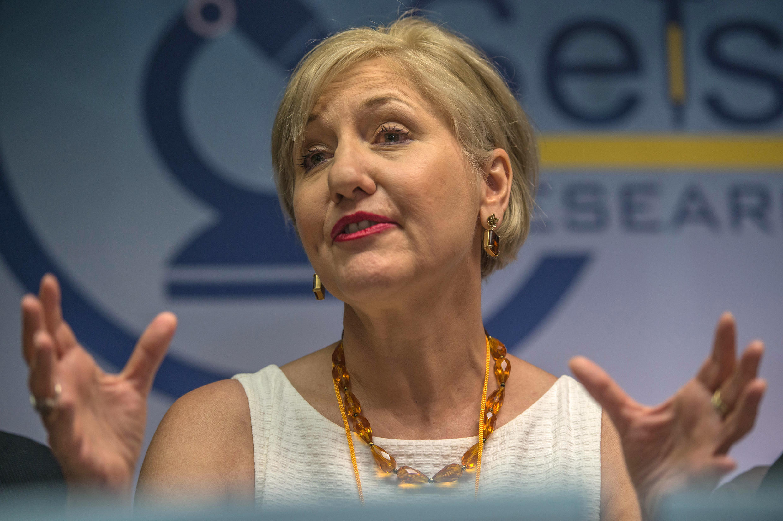 Glenda Gray, lors d'une conférence de presse pour le lancement de l'essai clinique au coeur du township de Soshanguve, dans le nord de la capitale Pretoria en Afrique du Sud, le 30 novembre 2016.