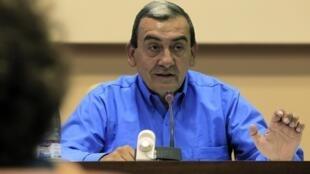 Chefe das Forças Armadas Revolucionárias da Colômbia (Farc), Mauricio Jaramillo, durante coletiva de imprensa, nesta quinta-feira, em Havana, Cuba.