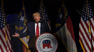 Former US president Donald Trump addresses the state Republican convention on June 5, 2021 in Greenville, North Carolina