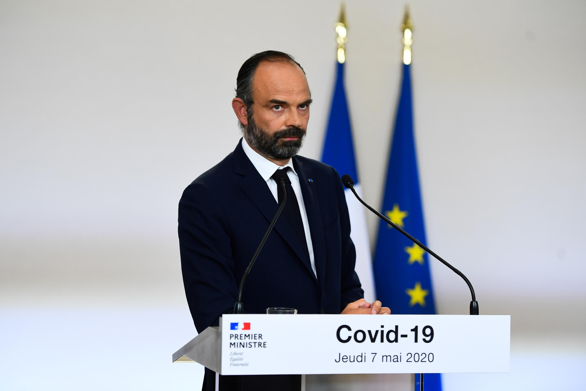 French Prime Minister Edouard Philippe looks on as he presents the details for the end of the country's lockdown imposed to curb the spread of the coronavirus disease (COVID-19), at the Hotel Matignon in Paris, France May 7, 2020.