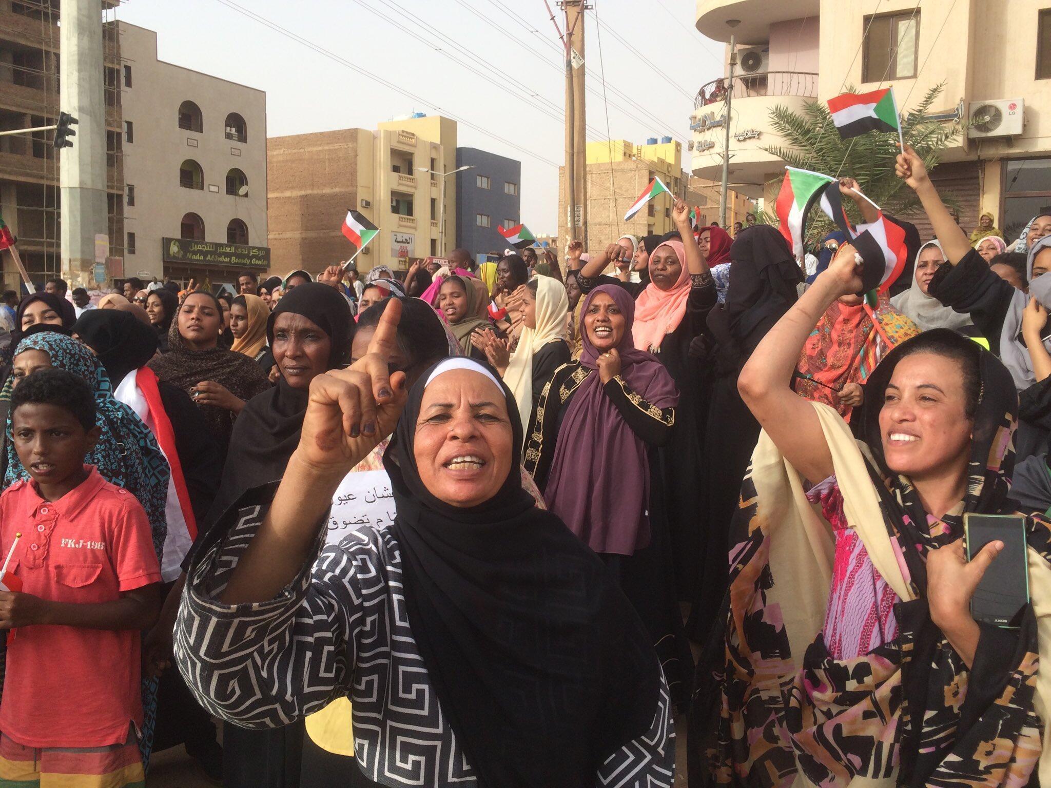 Women head protests in Khartoum, Sudan, on 30 June, 2019.
