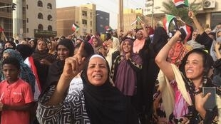 Protestors in Khartoum during demonstrations on Sunday June 30.