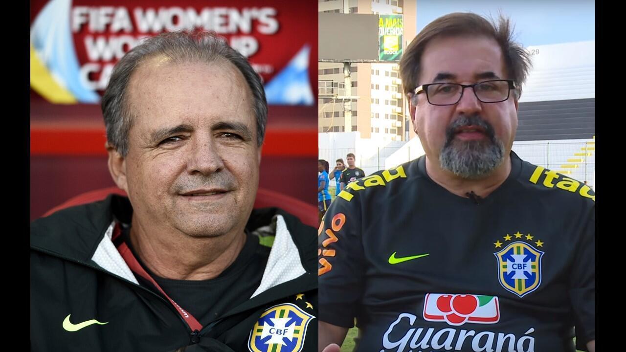O técnico da seleção brasileira de futebol feminino, Vadão, e o coordenador de seleções femininas da CBF, Marco Aurélio Cunha. Fotomontagem RFI