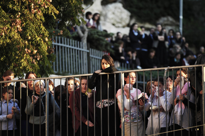 Funeral de três vítimas do atentado à sinagoga, em Jerusalém.