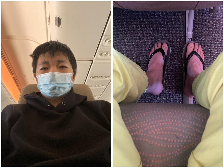19岁的重庆青年王靖渝2021年5月21日贴出他在飞机上自拍的照片。(王靖渝推特)
