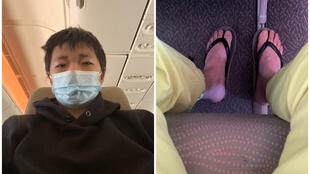 19歲的重慶青年王靖渝2021年5月21日貼出他在飛機上自拍的照片。(王靖渝推特)