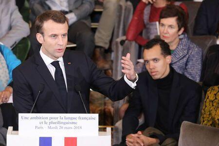 Tổng thống Pháp Emmanuel Macron phát biểu về chiến lược phổ biến Pháp ngữ nhân ngày Quốc tế Pháp ngữ tại Viện Pháp, Paris, ngày 20/03/2020.