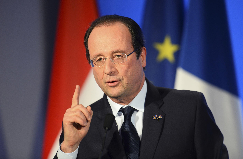 François Hollande lors de son discours lors de sa visite à Amsterdam, le 20 janvier 2014.