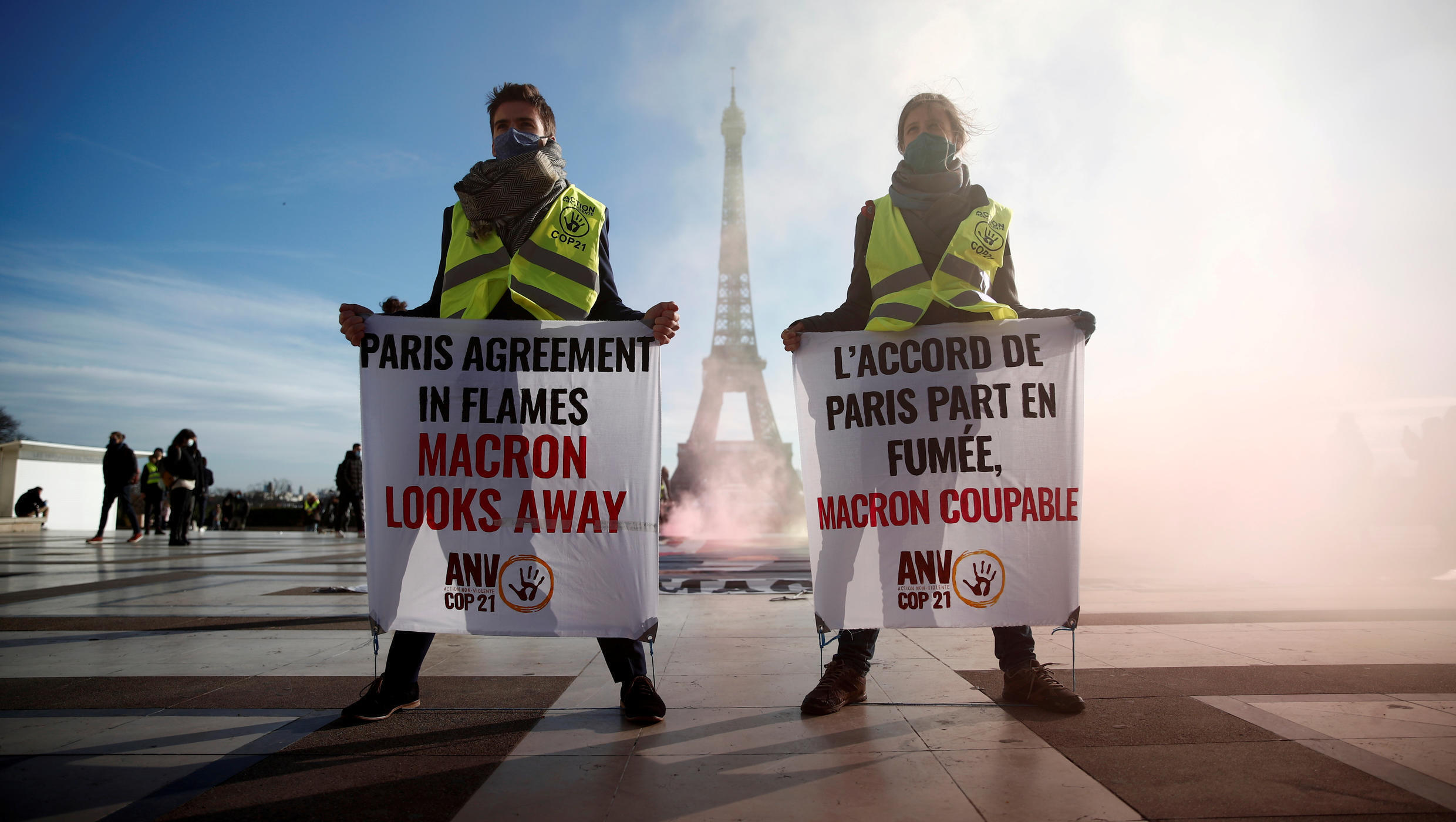 Climate activists demonstrate in front of the Eiffel tower 10 Dec 2020_File photo_Benoit Tessier_Reuters