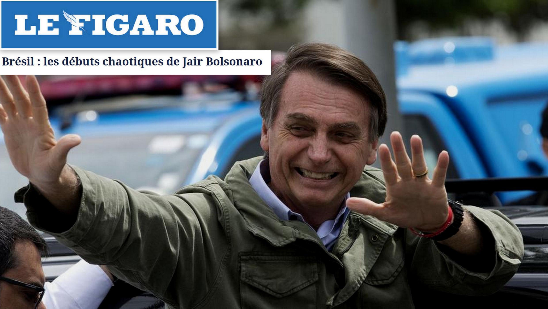 """Le Figaro destaca """"os primeiros passos caóticos"""" de Jair Bolsonaro após a eleição."""
