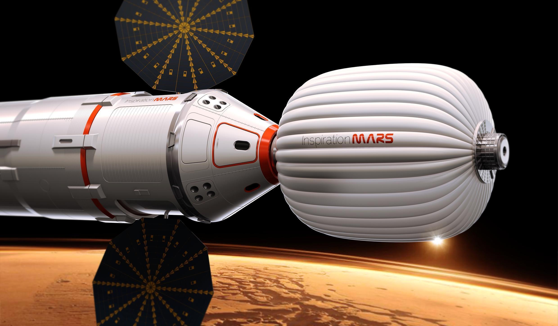 O projeto da nave espacial da missão habitada para Marte, inspirado na cápsula Dragon.