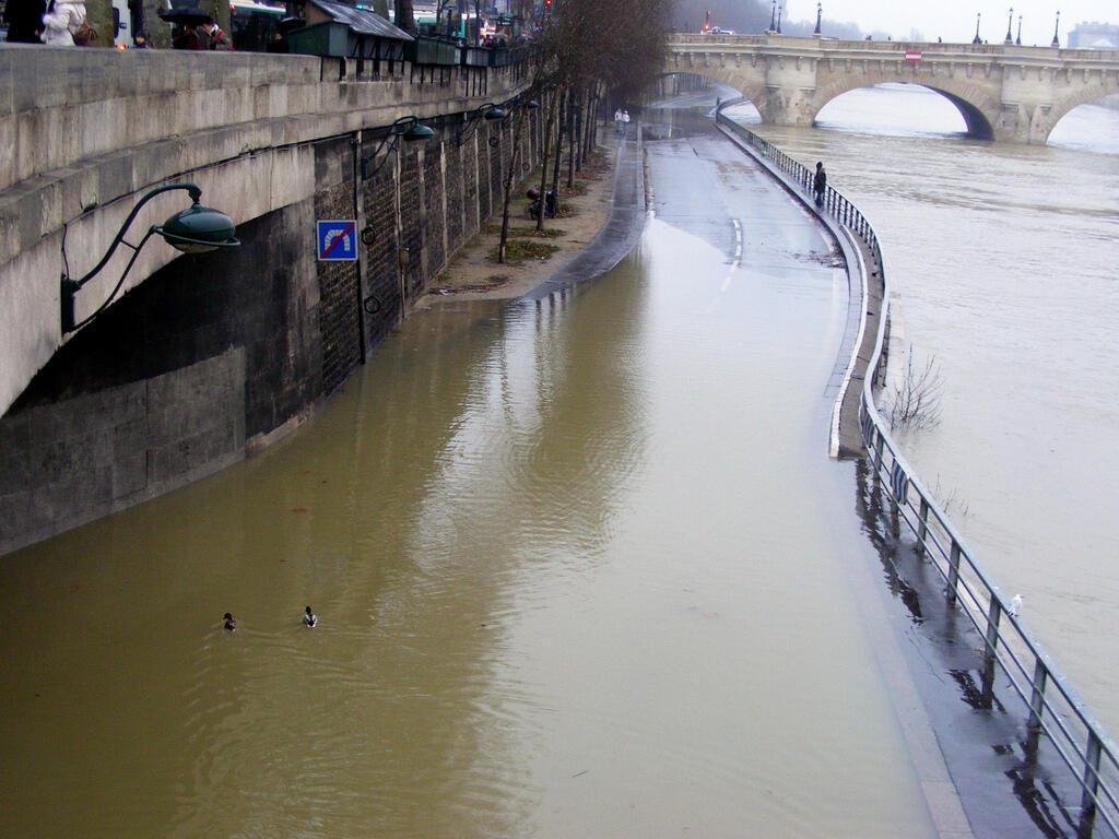 La voie express Georges Pompidou inondée et impraticable, sauf pour les canards, en février 2013.