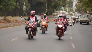 The Throttle Queens en route from Nairobi to Kampala on Friday 19 April 2019.