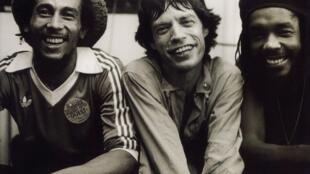 Bob Marley, Mick Jagger et Peter Tosh.