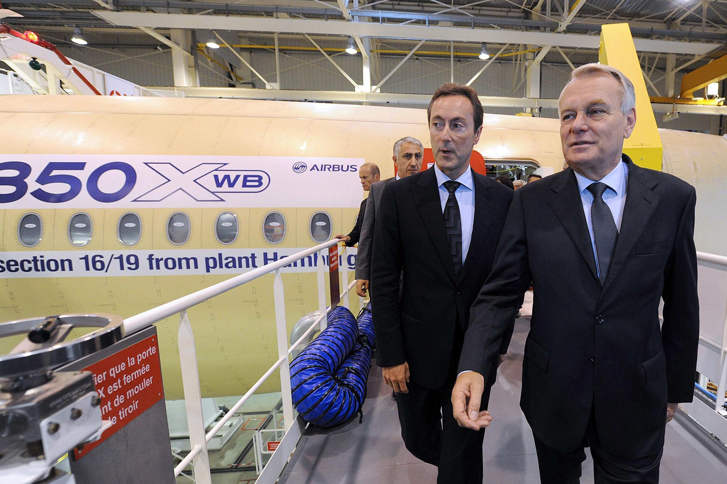 French Prime Minister Jean-Marc Ayrault at the Airbus factory in Toulouse