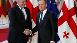 Президент Грузии Георгий Маргвелашвили и председатель Европейского Совета Дональд Туск, 8 марта 2018.