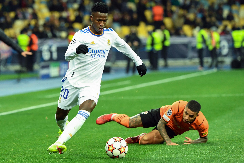 L'attaquant brésilien du Real Madrid Vinicius contre le Shakhtar Donetsk en Ligue des champions le 19 octobre 2021 à Kiev