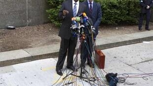 Lawyers Doug Wigdor and Kenneth Thompson (L) outside the New York courthouse on Monday