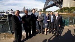 Các bộ trưởng ngoại giao, quốc phòng, thương mại Singapore và Úc trước cuộc họp 3+3 tại Sydney, ngày 18/03/2016