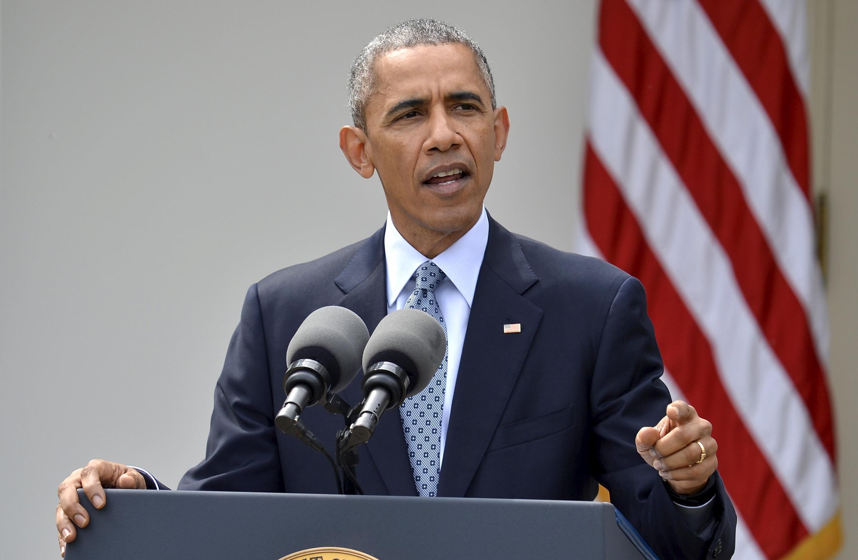Tổng thống Mỹ Barack Obama trình bày về thỏa thuận khung hạt nhân với Iran, 02/04/2015.