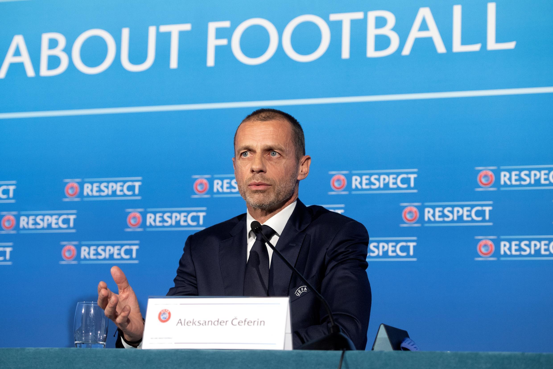 Le président de l'UEFA, Aleksander Ceferin, en conférence de presse à Montreux, le 19 avril 2021