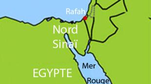 Le nord du Sinaï égyptien, frontalier de la bande de Gaza.