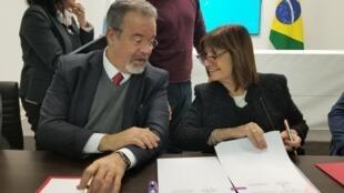 Os ministros da Segurança do Brasil, Raul Jungmann, e da Argentina, Patricia Bullrich.