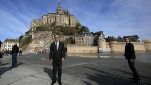 French President Francois Hollande poses during a visit to Mont-Saint-Michel on Saturday.