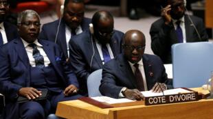 La délégation ivoirienne représentée au Conseil de sécurité de l'ONU, le 2 juin 2017.