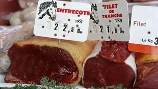 Cuts of horsemeat at a horse butchers in Rosny-sous-Bois near Paris