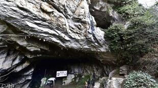 The entrance of the Lombrives cave in Ussat in the south-west of France, where 15 volunteers will spend 40 days as part of a scientific experiment called Deep Time project.