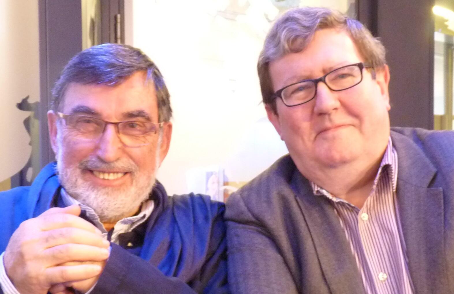José Manuel Pérez Carrera y Juan Manuel Bonet en los estudios de RFI