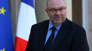 Stéphane Travert, le ministre français de l'Agriculture, a reçu les jeunes agriculteurs à l'Elysée à Paris, le 22 février 2018.