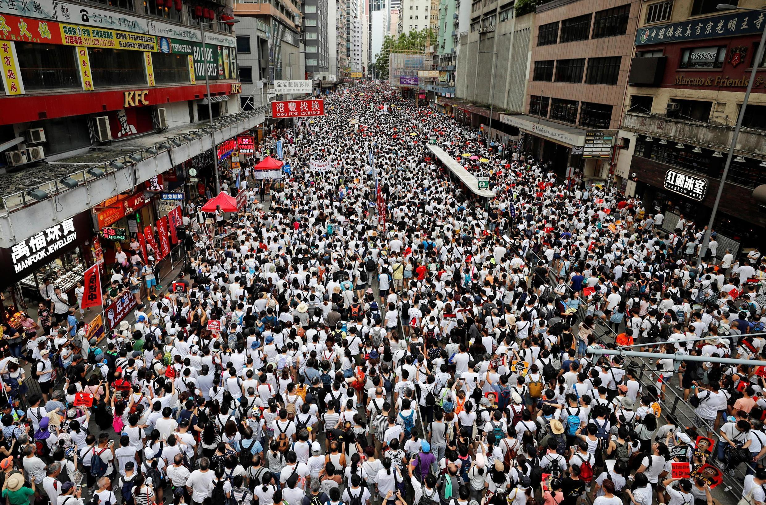 Hong Kong protestors demanding that the authorities scrap a proposed extradition bill, June 2019.