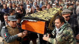The funeral of the victims of a car bomb attack in Kabul in January