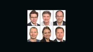 En haut, de gauche à droite: Geoffroy Didier, Pascal Durand, Emmanuel Maurel. En bas, de gauche à droite: Didier Cormand, Aurore Lalucq, Jérôme Rivière.