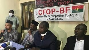 Tahirou Barry, Ablassé Ouédraogo, Zéphyrin Diabré na Eddie Komboïgo, wagombea urais nchini Burkina Faso, katika taarifa ya awali, Novemba 21, 2020.