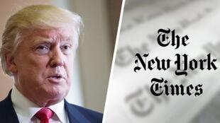 《紐約時報》標識與美國總統特朗普示意圖