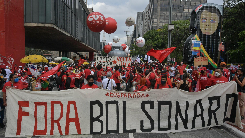 Hundreds of demonstrators take part in a protest against Brazilian President Jair Bolsonaro, in Sao Paulo, Brazil, on October 2, 2021