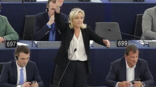 Лидер Нацфронта Марин ле Пен в Европейском парламента, Страсбург, 10 июня 2015.