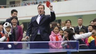 英国首相卡梅伦在四川成都访问,2013年12月4日。