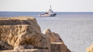 Con tàu Open Arms chở người tị nạn ở ngoài khơi đảo Lampedusa, Ý, ngày 17/08/2019.
