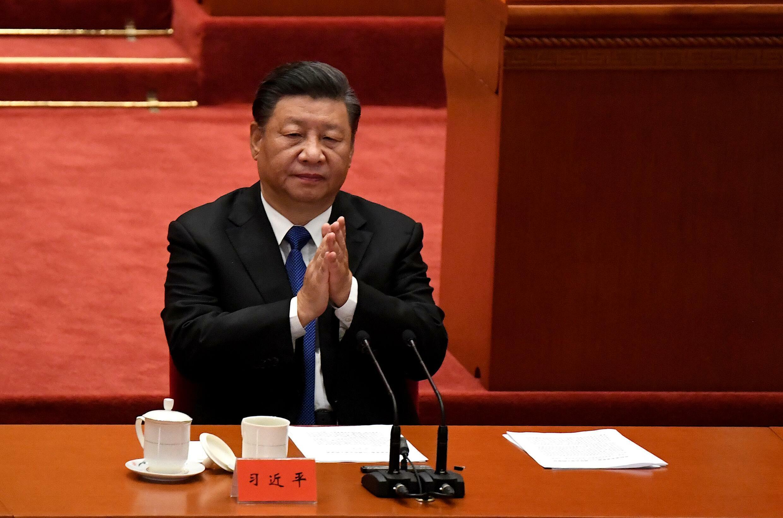 El presidente chino Xi Jinping el 9 de ocubre en el Gran Palacio del Pueblo de Pekín preside la conmemoración del 110 aniversario de la Revolución de 1911 que derrocó a la última dinastía china