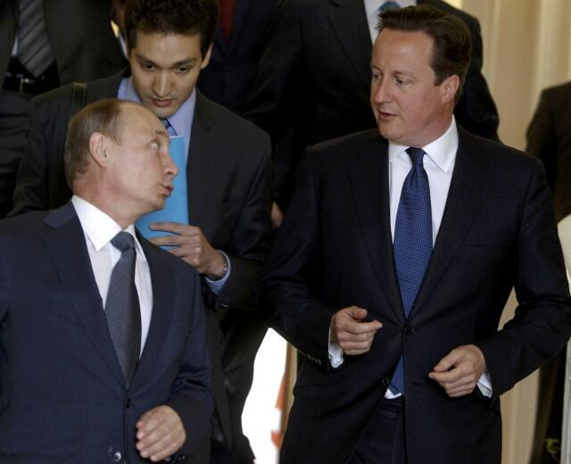 Дэвид Кэмерон и Владимир Путин в резиденции Бочаров Ручей в Сочи 10/05/2013