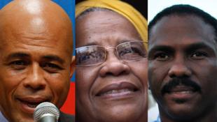 Les trois principaux candidats du premier tour de l'élection présidentielle en Haïti : Michel Martelly (G), Mirlande Manigat (C) et Jude Célestin (D).