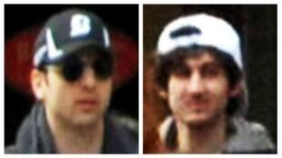 Reprodução de vídeo que mostra os irmãos Tamarlan Tsarnaev, de boné preto, e Djokhar Tsarnaev, de boné branco, suspeito de terem cometido os atentados da Maratona de Boston.