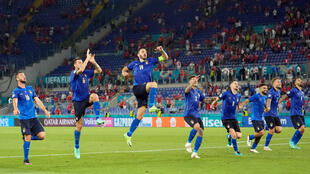 La joie des Italiens après leur victoire, 3-0 contre la Suisse, lors de l'Euro 2020, le 16 juin 2021 au Stadio Olimpico à Rome