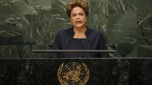 A presidente Dilma fala na plenária da Assembleia da ONU, em Nova York.