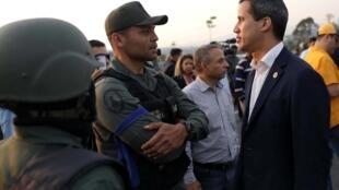 Juan Guaido, mardi 30 avril 2019, à la base aérienne de La Carlota, à Caracas.