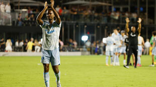 DC United's Ola Kamara celebrates his club's 3-0 Major League Soccer victory over Inter Miami